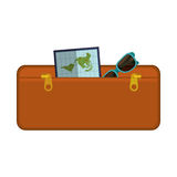 Travel suitcase brown of vacation Stock Image