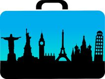 Travel suitcase with cities icons Royalty Free Stock Image