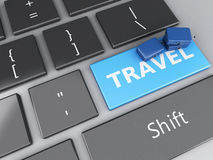 Travel suitcase on computer keyboard. Travel concept. 3d renderer illustration. travel suitcas on computer keyboard. Travel concept Royalty Free Stock Photos
