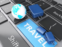 Travel suitcase and earth on computer keyboard. Travel concept. 3d renderer illustration. travel suitcase and earth on computer keyboard. Travel concept Royalty Free Stock Photos