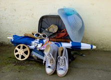 Travel Suitcase with Film Strip Royalty Free Stock Photography