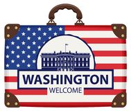 Travel suitcase with flag of USA and White house. Vector travel banner with suitcase in colors of American flag with the White house in Washington DC, USA, the Royalty Free Stock Photography
