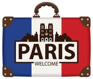 Travel suitcase with french flag and Notre Dame. Vector travel banner with suitcase in colors of french flag with the famous Cathedral of Notre Dame de Paris Stock Photo