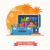 Travel Suitcase Fully Stuffed Stock Images
