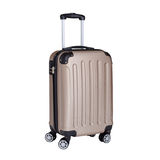 Travel suitcase, hand luggage on wheels isolated on white. Travel suitcase, beige hand luggage on wheels isolated on white background royalty free stock photography