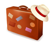 Travel suitcase and a hat. Vector. Royalty Free Stock Image