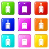 Travel suitcase icons 9 set Royalty Free Stock Images