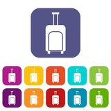 Travel suitcase icons set Stock Photography