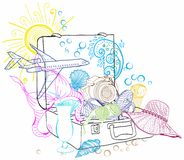 Travel suitcase illustration. Travel suitcase full of vacation items Royalty Free Stock Images