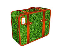 Travel suitcase Illustration made of grass field. Summer travel and holiday concep Royalty Free Stock Photo