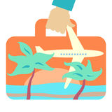 Travel suitcase with image of flying plane Royalty Free Stock Photography