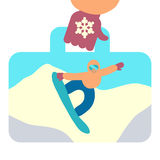 Travel suitcase with image of snowboarding Royalty Free Stock Photo