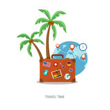 Travel suitcase with palmtrees Stock Image