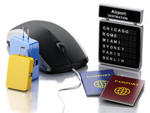 Travel suitcase, passport, airport board and computer mouse. 3d illustration. Travel suitcase, passport, airport board and computer mouse. Online booking or Royalty Free Stock Images