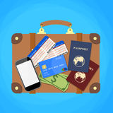 Travel suitcase  passport and plane tickets Stock Photography