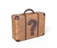 Travel Suitcase with Question Mark Royalty Free Stock Image