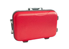 Travel Suitcase red color on white Stock Photo