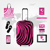 Travel suitcase with set of icons, pink zebra Royalty Free Stock Photography