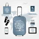 Travel suitcase with set of icons for your design Royalty Free Stock Images