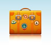 Travel suitcase with stickers Stock Photos