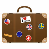 Travel suitcase with stickers. A bag with most needed items for traveling vector illustration