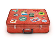 Travel Suitcase with stickers. Clipping path included. Computer Royalty Free Stock Photos
