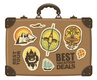 Travel suitcase. With stickers of different cities Stock Photo