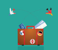 Travel suitcase with stickers. Vector Stock Photography
