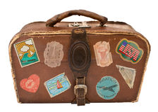 Travel Suitcase with stickers. Vintage suitcases. Isolated on white background Stock Images