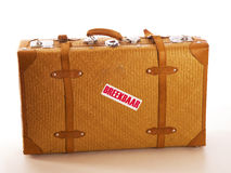 A travel suitcase. With a text fragile stock photo
