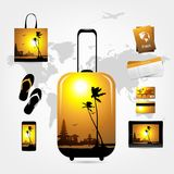 Travel suitcase with trip things, tropical style Stock Photo