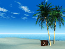 Travel suitcase on tropical beach. A travel suitcase on a tropical beach with palm trees on a beautiful sunny day Stock Photo