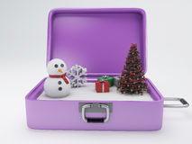 Travel suitcase. winter vacation concept. Stock Photos