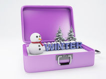 Travel suitcase. winter vacation concept. Stock Photo