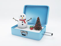 Travel suitcase. winter vacation, Holidays Concept. Royalty Free Stock Photos