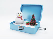 Travel suitcase. winter vacation, Holidays Concept. Stock Images