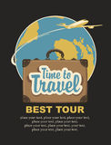 Travel suitcase and the words travel time. Banner with a travel suitcase and the words travel time, passenger plane and planet Earth Royalty Free Stock Photo