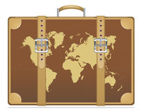 Travel suitcase with world map Stock Photos