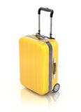 Travel suitcase. Yellow travel suitcase over white reflective background - 3D illustration Royalty Free Stock Photo