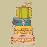 Travel suitcases. Vector background illustration Royalty Free Stock Photo