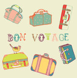 Travel suitcases. Seamless pattern vector Royalty Free Stock Images