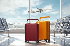 Travel suitcases at the airport. 3d rendering. Travel suitcases at the airport with airplane on the background. 3d rendering Stock Images