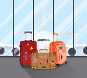 Travel suitcases in airport Royalty Free Stock Images