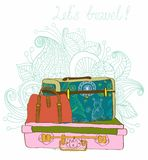 Travel Suitcases Background Royalty Free Stock Photography