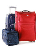 Travel suitcases and bag isolated on white. Two travel suitcases and travel bag isolated on white Stock Photos