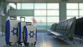 Travel suitcases featuring flag of Israel. Israeli tourism conceptual animation stock footage