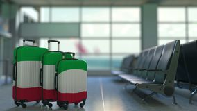 Travel suitcases featuring flag of Italy. Italian tourism conceptual animation stock video footage