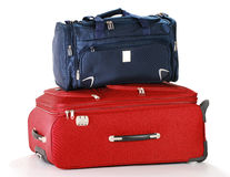Travel suitcases isolated on white. Two travel suitcases isolated on white Royalty Free Stock Image