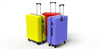 Travel suitcases isolated on white background. 3d illustration stock illustration