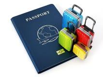 Travel suitcases on passport. On white background vector illustration
